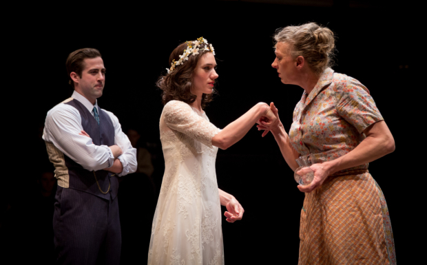 Chance Bone, Helen Sadler, and Eva Barr in Blood Wedding, directed by Daniel Ostling, at Lookingglass Theatre.