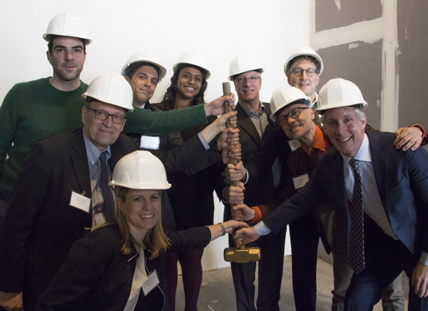 Members of the MCC Theater family get ready to break ground on the company's new home.