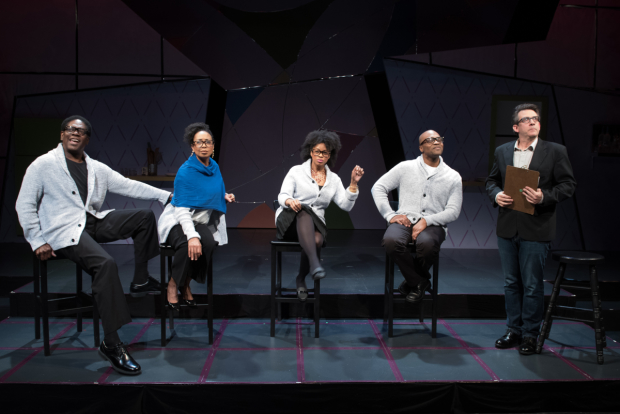 Johnny Lee Davenport, Jackie Davis, Tiffany Nichole Greene, Maurice Emmanuel Parent, and John Kuntz in Bootycandy, directed by Summer L. Williams, at SpeakEasy Stage Company.