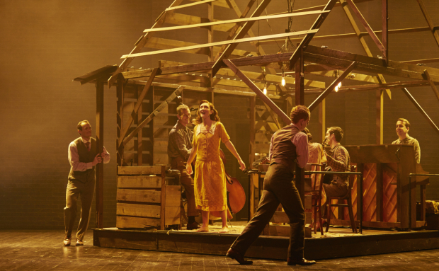 Carmen Cusack (center) leads the cast of Steve Martin and Edie Brickell's Bright Star, directed by Walter Bobbie, at Broadway's Cort Theatre.