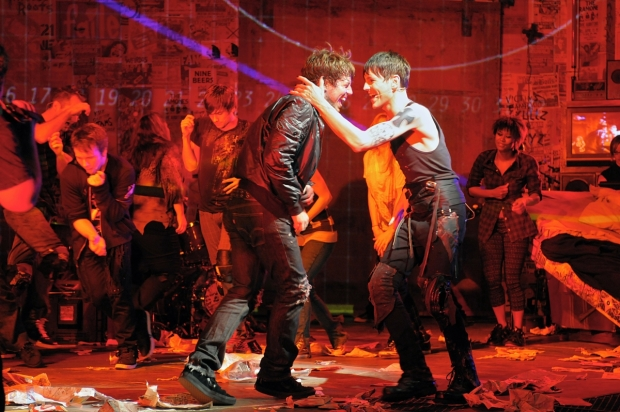 John Gallagher Jr. and Tony Vincent in the original Broadway production of American Idiot at the St. James Theatre.