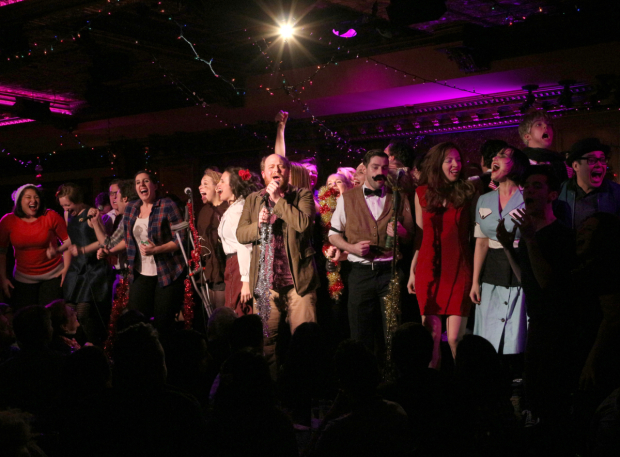 Jason SweetTooth Williams (center) leads the cast of the 2015 Joe Iconis Christmas Spectacular at Feinstein's/54 Below.