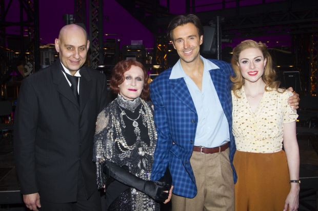 London Fred Johanson (Max Von Mayerling), Glenn Close (Norma Desmond), Michael Xavier (Joe Gillis), and Siobhan Dillon (Betty Shaefer) backstage following the opening night of Sunset Boulevard.
