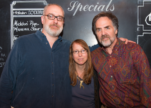 Anne Washburn (center) celebrates her opening night with director Ken Rus Schmoll (left) and Playwrights Horizons artistic director Tim Sanford (right).