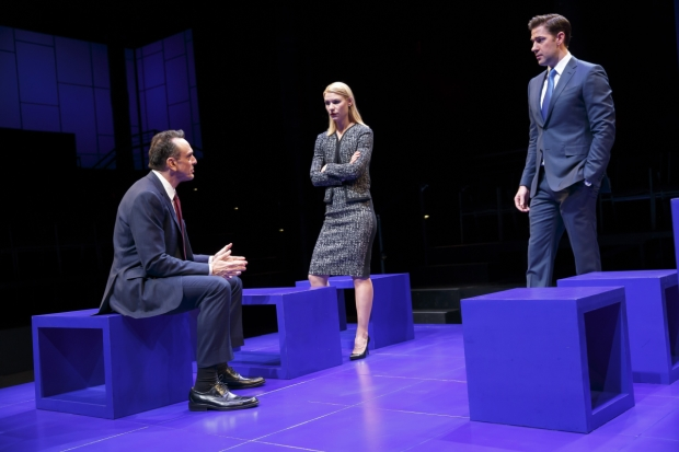 Hank Azaria, Claire Danes, and John Krasinski in Thomas Kail's production of Dry Powder by Sarah Burgess at the Public Theater.