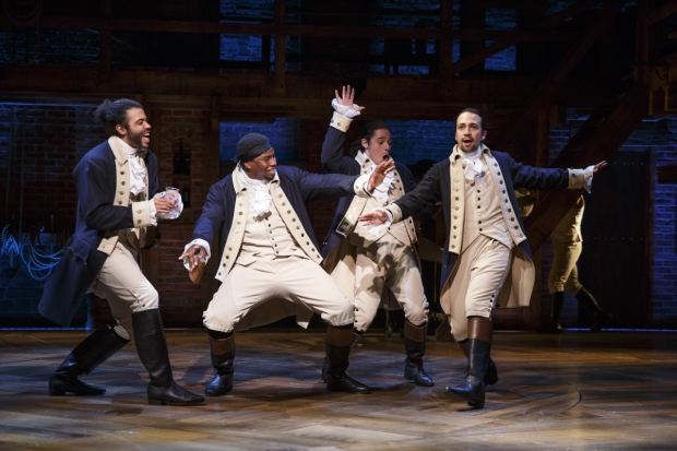 Daveed Diggs, Okieriete Onaodowan, Anthony Ramos, and Lin-Manuel Miranda in Thomas Kail's production of Hamilton at the Richard Rodgers Theatre.