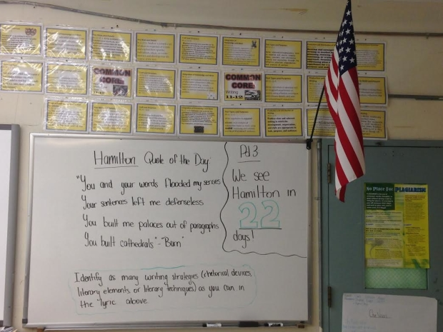 This Thomas Edison High School classroom has adopted a Hamilton Quote of the Day program to help with Regents exam preparation.