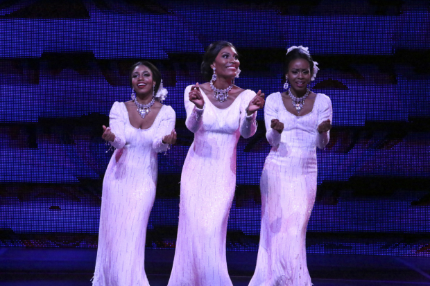 Brittney Johnson, Jasmin Richardson, and Danielle Truitt in Dreamgirls, directed by Robert Longbottom, at La Mirada Theatre.