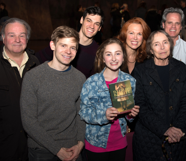 Fred Applegate, Andrew Keenan-Bolger, Robert Lenzi, Sarah Charles Lewis, Carolee Carmello, and Michael Park join Tuck Everlasting author Natalie Babbitt for a special backstage group shot.