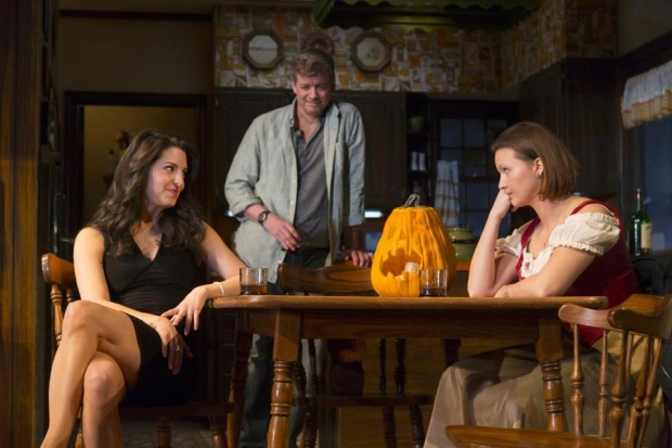 Meredith Forlenza, Chris Henry Coffee, and Tanya Fischer star in Gina Gionfriddo's Can You Forgive Her?, directed by Peter Dubois, at Huntington Theatre Company.