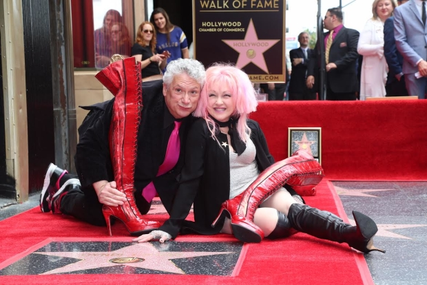 With their Kinky Boots in hand, Harvey Fierstein and Cyndi Lauper receive stars on the Hollywood Walk of Fame.
