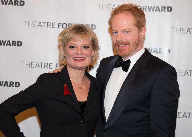 Martha Plimpton congratulates Jesse Tyler Ferguson on his honor.