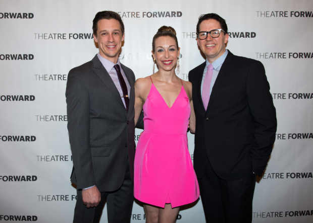 Jason Michael Snow, Robin Levine, and Kevin Duda walk the red carpet.