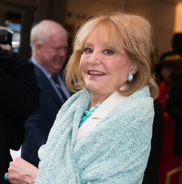Barbara Walters heads into the Samuel J. Friedman Theatre.