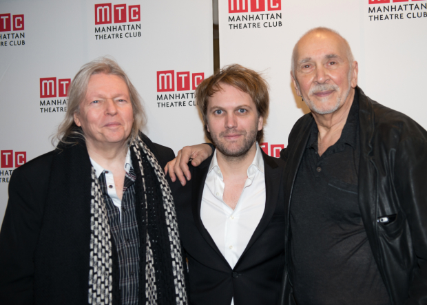 Frank Langella (right) congratulates The Father translator Christopher Hampton and playwright Florian Zeller.