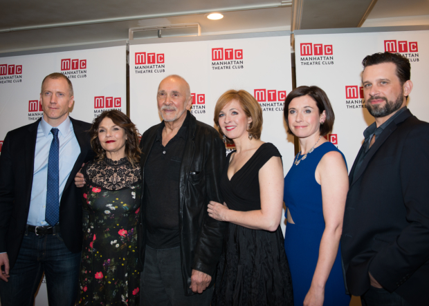 The cast of The Father: Charles Borland, Kathryn Erbe, Frank Langella, Kathleen McNenny, Hannah Cabell, and Brian Avers.