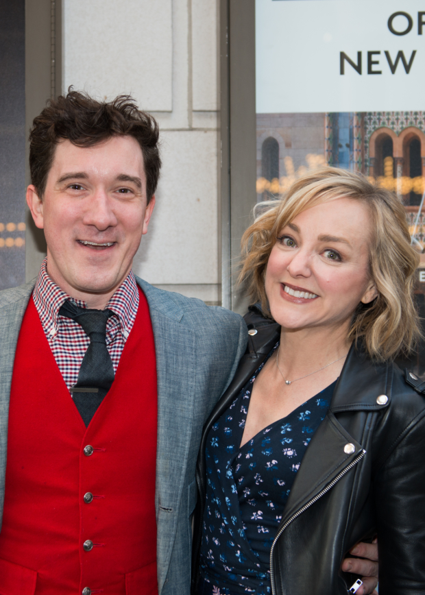 Carson Elrod and Geneva Carr pal around on the red carpet.