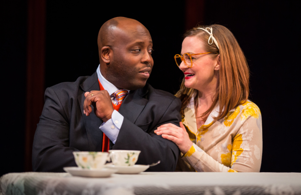 James Earl Jones II (Carlyle Meyers) and Tiffany Scott (Janice) in Carlyle, directed by Benjamin Kamine, at the Goodman Theatre.