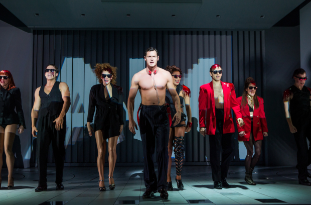 Benjamin Walker (center) leads the cast of Roberto Aguirre-Sacasa and Duncan Sheik's American Psycho, directed by Rupert Goold, at Broadway's Gerald Schoenfeld Theatre.