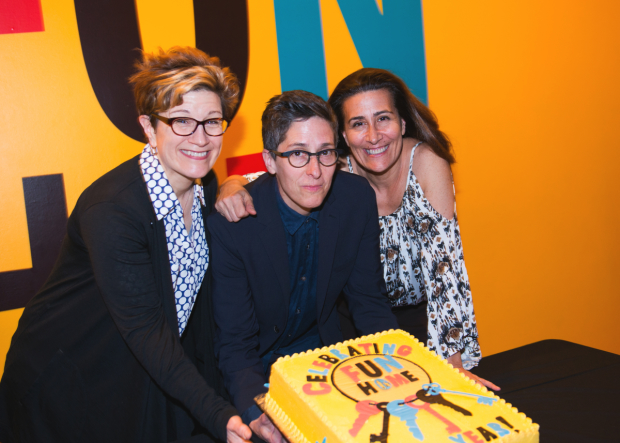 Fun Home, based on a graphic novel by Alison Bechdel (center), is written by Lisa Kron (left) and Jeanine Tesori.