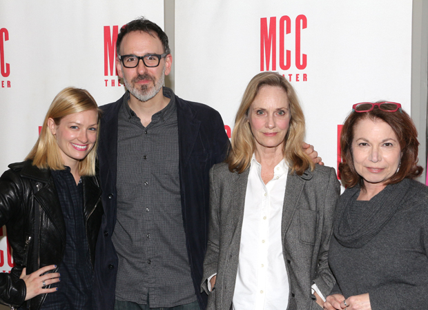 Beth Behrs, Erik Lochtefeld, Lisa Emery, and Jacqueline Sydney star in the new Halley Feiffer play at the Lucille Lortel Theatre.