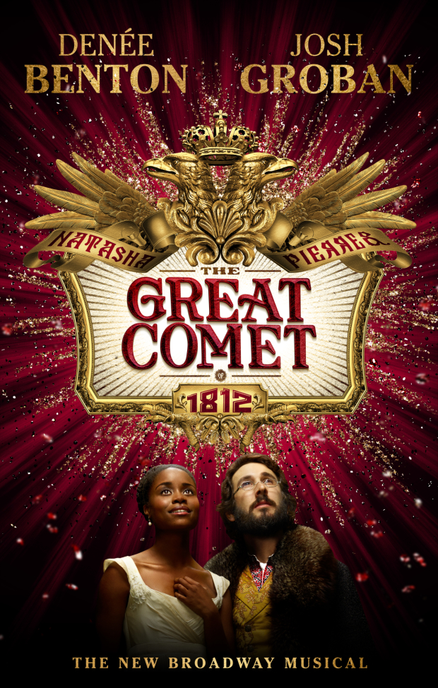 Denée Benton and Josh Groban as Natasha and Pierre in the official poster for Broadway's Natasha, Pierre & the Great Comet of 1812.