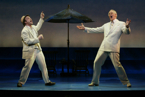 Norbert Leo Butz and John Lithgow in the original Broadway production of Dirty Rotten Scoundrels.