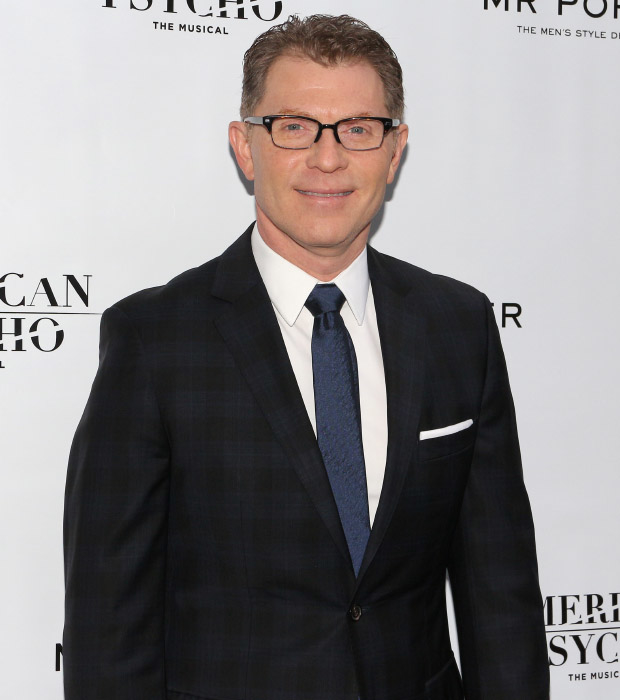 Chef Bobby Flay arrives to cheer on his girlfriend, American Psycho cast member Heléne Yorke.