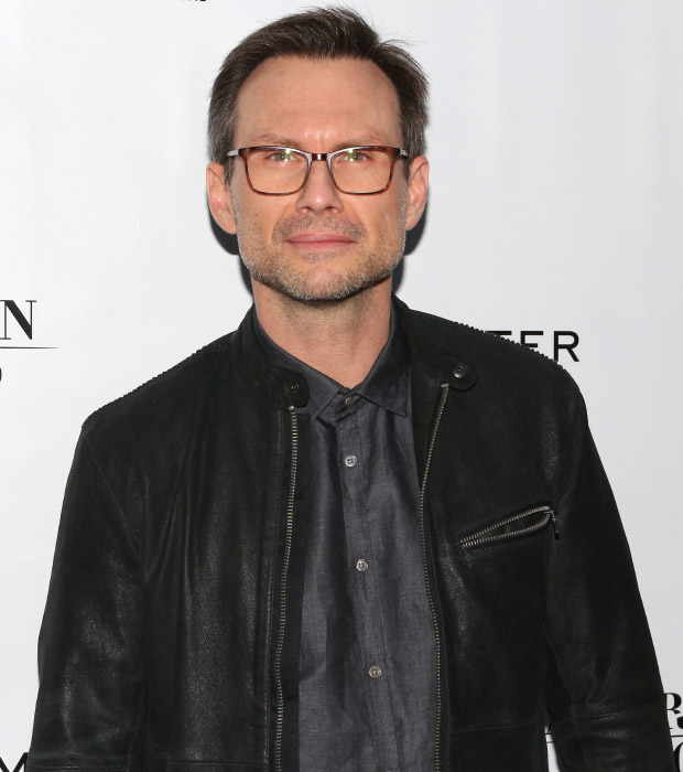 Mr. Robot star Christian Slater arrives to see American Psycho.
