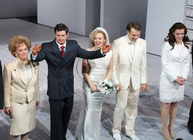 Alice Ripley, Benjamin Walker, Heléne Yorke, Drew Moerlein, and Jennifer Damiano come out for curtain call.