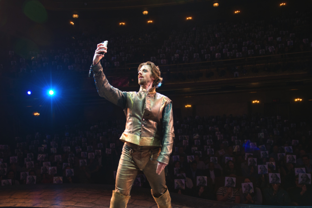 Christian Borle takes an epic selfie with the audience at Something Rotten!
