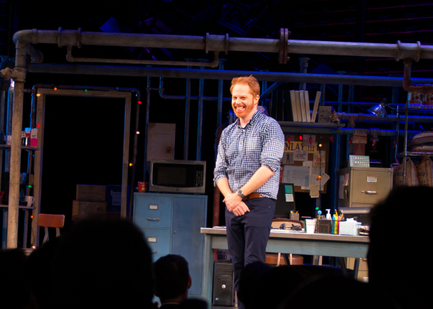 Jesse Tyler Ferguson takes his bow as Fully Committed opens on Broadway.
