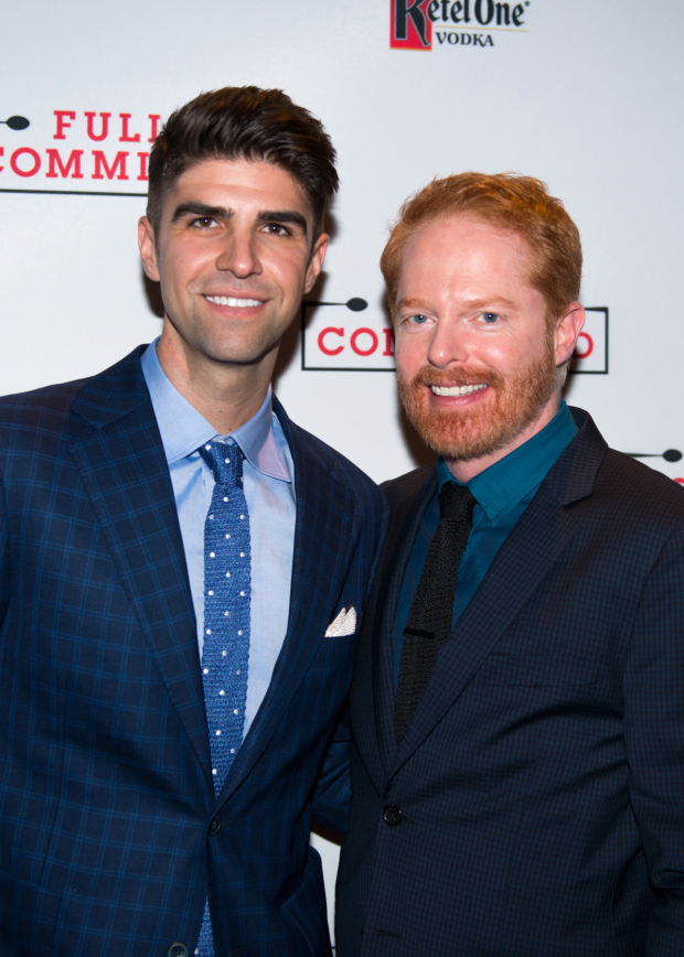 Jesse Tyler Ferguson celebrates opening night with his husband, Justin Mikita.