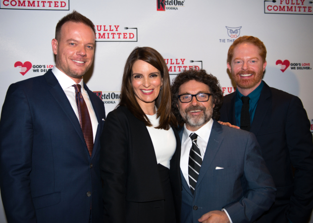 Tina Fey and Jeff Richmond join Fully Committed director Jason Moore and star Jesse Tyler Ferguson on the red carpet.