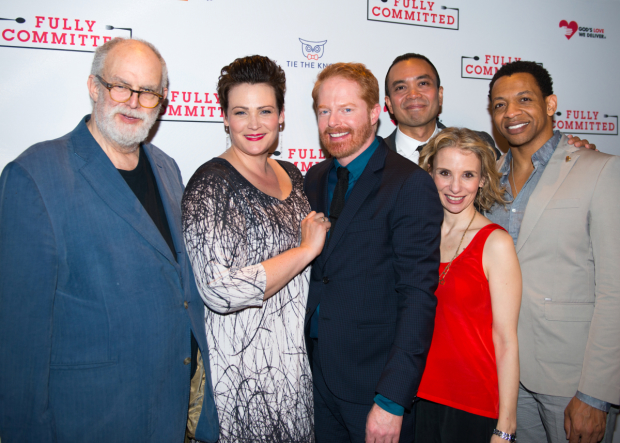 It's a Spelling Bee reunion as William Finn, Lisa Howard, Jose Llana, Sarah Saltzberg, and Derrick Baskin join Jesse Tyler Ferguson for a snapshot.
