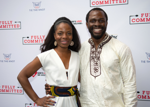 Marsha Stephanie Blake and Gbenga Akinnagbe step out for the opening of Fully Committed.