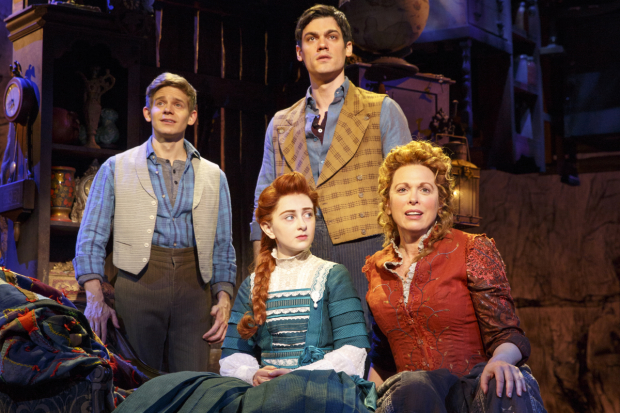 Andrew Keenan-Bolger, Sarah Charles Lewis, Robert Lenzi, and Carolee Carmello star in Tuck Everlasting, directed by Casey Nicholaw, at Broadway's Broadhurst Theatre.