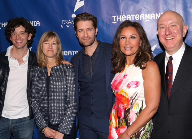 Hhost Michael Urie (left) joins Managing Executive Producer Gretchen Shugart, nomination announcers Matthew Morrison and Vanessa Williams, and Drama Desk President Charles Wright for a group photo.