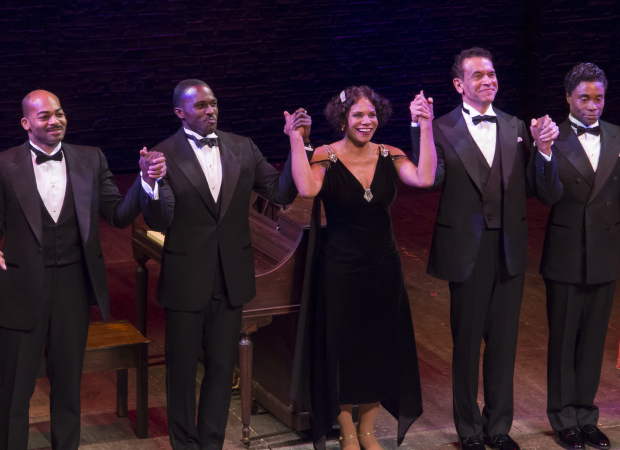 Brandon Victor Dixon, Joshua Henry, Audra McDonald, Brian Stokes Mitchell, and Billy Porter take their bow on the opening night of Shuffle Along.