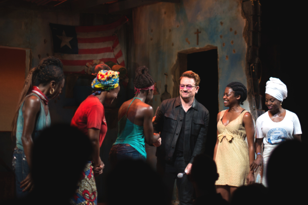 Bono joins the cast of Eclipsed on stage at the John Golden Theatre.
