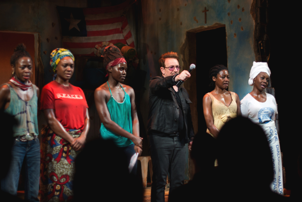 Bono asks the audience to say the names of two girls abducted from their school in Northern Nigeria in 2014.