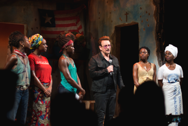 Bono dedicates the performance to two young women abducted by Boko Haram in 2014.