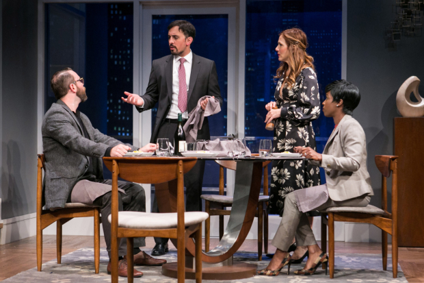 Joe Isenberg as Isaac, Nehal Joshi as Amir, Ivy Vahanian as Emily, and Felicia Curry as Jory in Disgraced at Arena Stage, directed by Timothy Douglas.