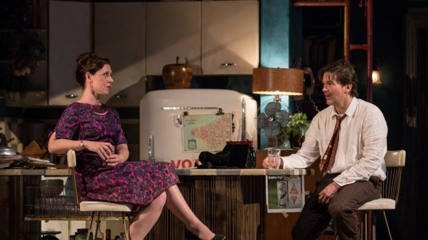 Miriam Silverman (Mavis) and Chris Stack (Sidney Brustein) in The Sign in Sidney Brustein's Window, directed by Anne Kauffman, at Goodman Theatre.