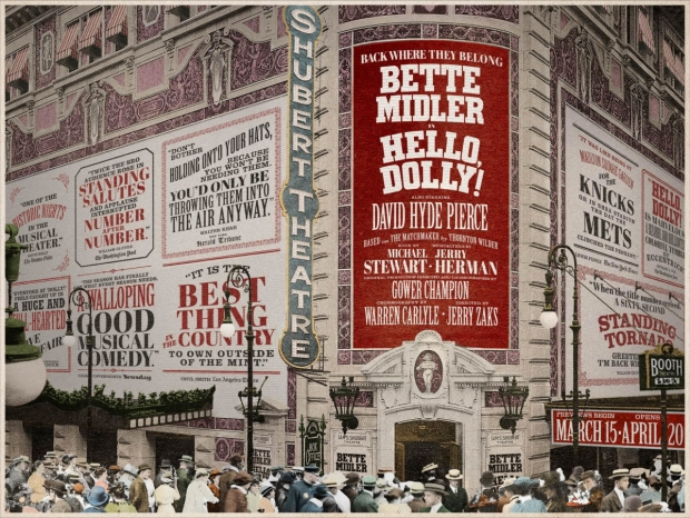 A mockup of the Shubert Theatre marquee for Hello, Dolly!