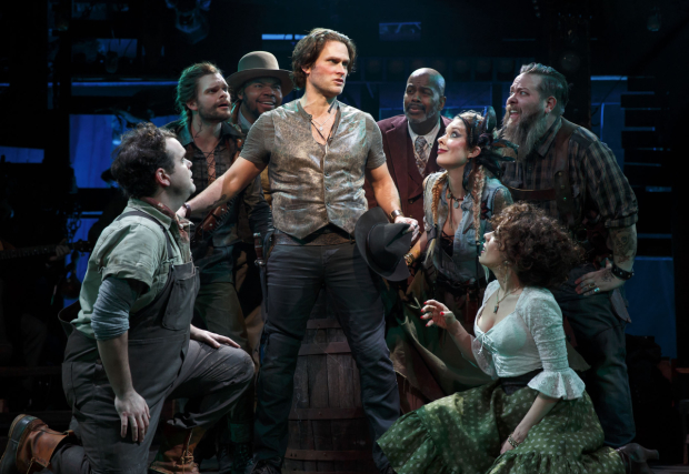 Steven Pasquale and the cast of The Robber Bridegroom take the stage at the Laura Pels Theatre.