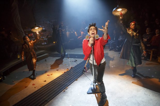 Shaina Taub, Amber Gray, Damon Daunno, and Lulu Fall star in Anaïs Mitchell's Hadestown, directed by Rachel Chavkin, at New York Theatre Workshop.