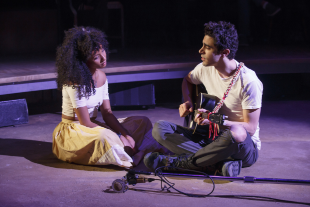 Nabiyah Be plays Eurydice and Damon Daunno plays Orpheus in Hadestown.