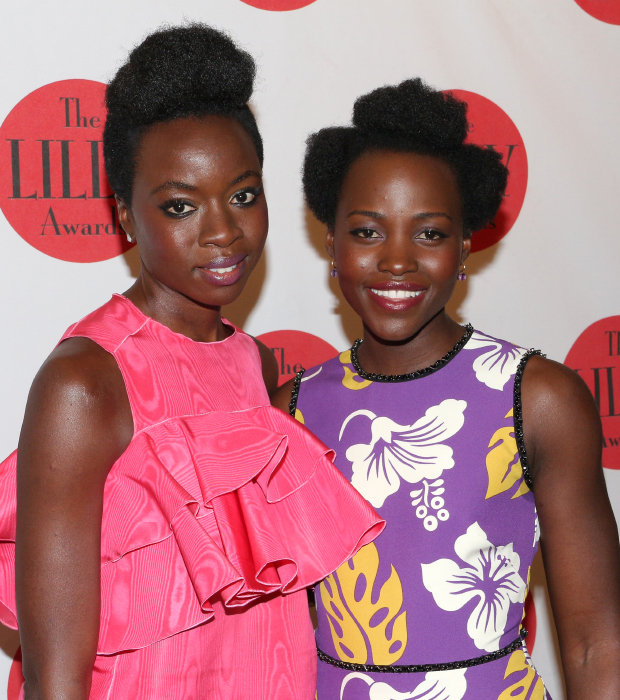 Eclipsed star Lupita Nyong'o (right) presents her playwright, Danai Gurira, with the Lilly Award in Playwriting.