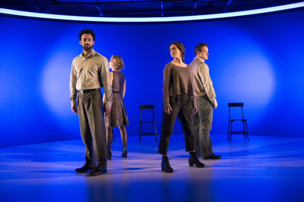 The quartet of actors in a scene from Nicky Payne's Incognito, directed by Doug Hughes at New York City Center - Stage I.